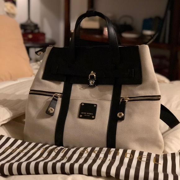 546b2c18b7 Henri Bendel jetsetter backpack white canvas